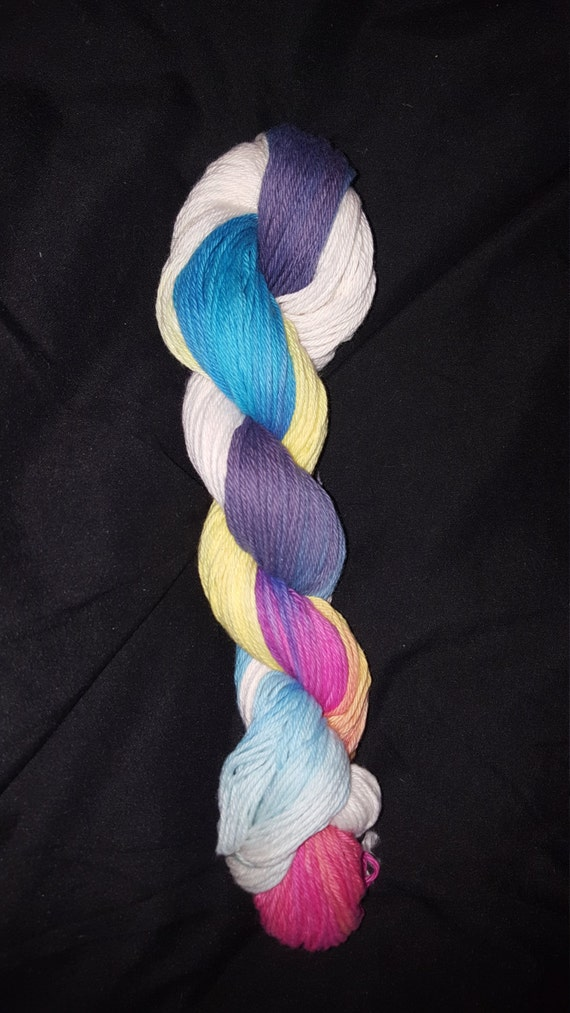"Freak Show- ""Coney Island Collection"" 100 Organic Cotton Yarn, Hand Dyed, Rainbow Gradient"