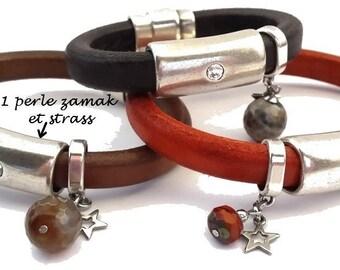 1 large bead tube rhinestone 37mm (re18) Regaliz leather and zamak