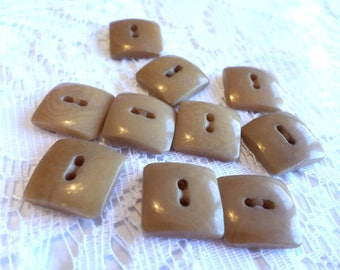 10 Brown/Tan Square Vintage Buttons Sew Through Buttons 1/2 Inch