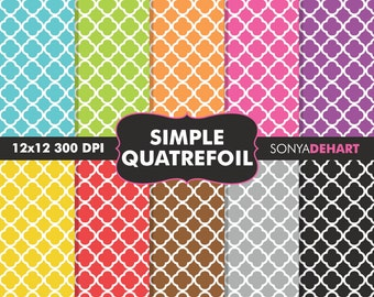 80% OFF SALE Digital Paper, Quatrefoil Papers, Quatrfoil Patterns, Moroccan Papers, Moroccan Patterns, Scrapbook Papers, Printable Papers