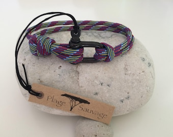 Mixed wild Paracord Destiny 3.5 mm Beach and Manila right single black 4 mm stainless steel bracelet