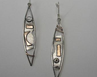 Assymetrical Mixed  Metals Shield Earrings