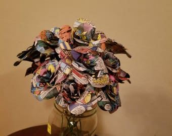 Handmade Comic book Roses 1 dozen- paper Flowers, bouquet, Marvel comics, centerpiece, wedding flowers, house decor, geek gift, anniversary