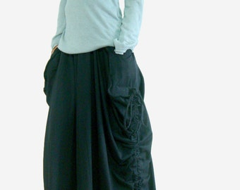 Lagenlook Maxi Skirt Big Pockets Long Skirt - in Black Cotton Wide Leg Pants SK005