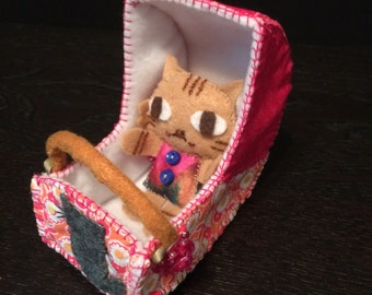 Handmade Cute Felt Basinet and Cat
