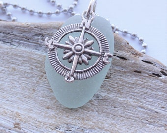 Sea Glass Necklace - Compass and Scottish Sea Glass Necklace - Stainless Steel or Leather Necklace - Travel Necklace - True North Talisman