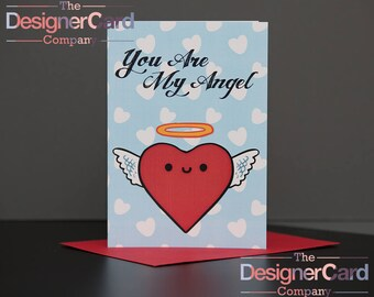 You Are My Angel Cupid Heart Character Anniversary Valentines Day Card