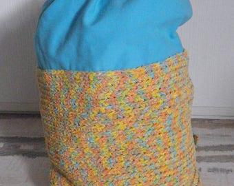 mochila en crochet y algodón para la playa