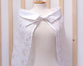 Cape, white cape, cape with white lace, Bridal cape, cape ceremony.