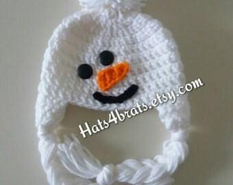 Baby Snowman Hat, Newborn Snowman Hat, Crochet Baby Snowman Hat, Crochet Snowman Earflap Hat, Winter Baby Hat, Newborn Snowman Photo Prop