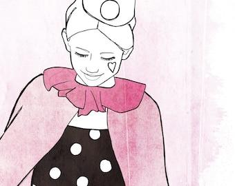 Girl heart illustration / print 21 X 29, 7 / Emilie Raguin