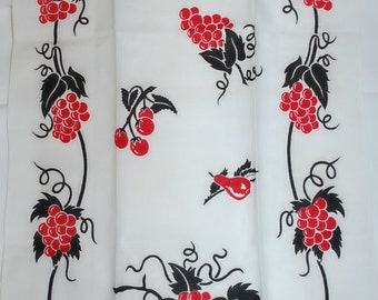 Lovely Two Color Grapes Kitchen Towel-1950s