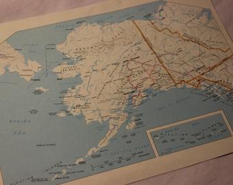 Vintage Map Print Alaska