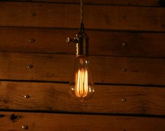 bare bulb lighting. Bare Bulb Minimalist Pendant Light - Vintage Style Cloth Cord With Dimmer Lighting