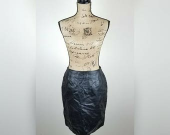 Womens vintage 100% leather pencil skirt