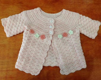 Crocheted Pink Parfait Baby Cardigan