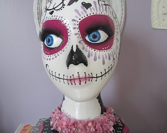 Hand Painted Mannequin Head Day of the Dead Pink, Purple, Black