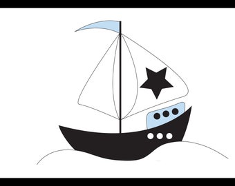 Scandinavian Print, Children's Print, Boat Print, Nursery Wall Print, A4