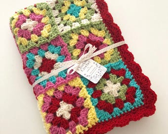 Granny Square Blanket - Holiday - (Ready to Ship)