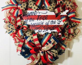 Rustic Patriotic Front Door Wreath, USA Wreath, Red White Blue Wreath, Summer Wreath, Flag Wreath, Country Wreath