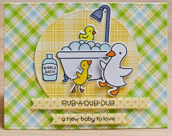 Baby card,  baby shower card,  pun card,  funny card,  duck card,  cute card,  handmade card,  handmade baby card