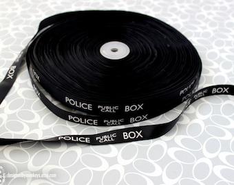 "Dr. Who Police Box 5/8"" Grosgrain Black Ribbon TARDIS Craft Supply LARGER Print"