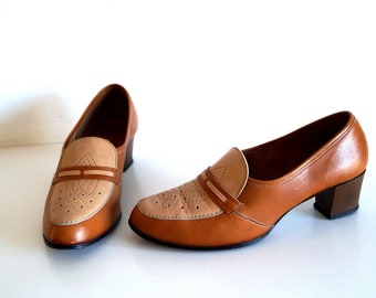 HASTEN BEKVAM shoes Eu 39,5 Uk 6,5 US 9 Brown genuine leather womens shoes Made in Sweden Hight quality heeled shoes Leather pumps Loafers