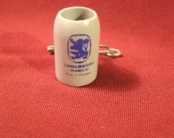 Miniature Lowenbrau Beer Mug Stein Tankard Lion Charm Pin Brooch Lapel Hat Vintage Advertising Small Tiny Doll House Accessory