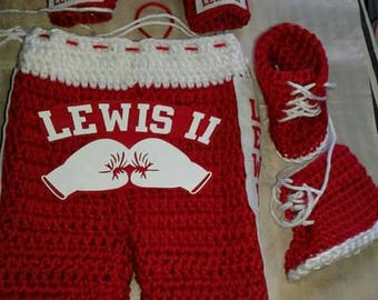 Baby boxing diaper set, crochet newborn boxing photography prop, baby boxer set, crochet boxing shorts, boxing gloves, red and white shorts