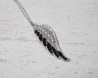 angel wing necklace - personalized angel wing gift - angel wing strass charm - angel wingjewel
