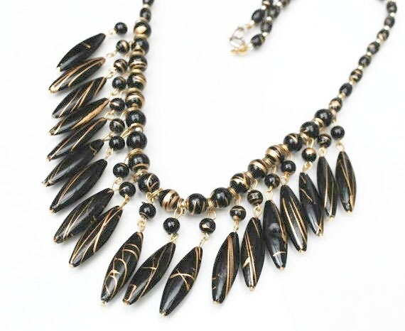 Black bead Bib Necklace - Gold  Black Bead - Resin  gold metal trim - Statement necklace