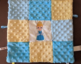 Cinderella Embroidery Ribbon Baby Blanket Lovey Minky Flannel