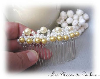 Wedding ivory yellow pearls silver hair comb