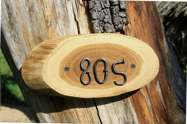 rustic house numbers door plaque Custom Wooden House Number