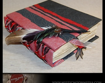 Scarlet Midnight Handmade Journal / Wedding Guest Book / Sketch Book/ Personalized Journal / Book of Shadows / Prayer Book / Quill Pen