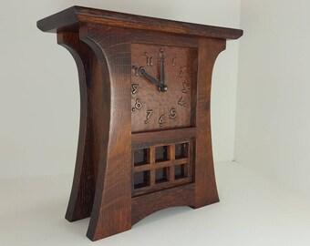 Mission Craftsman Style Arts Crafts Shelf Mantel Clock Hand Hammered Copper