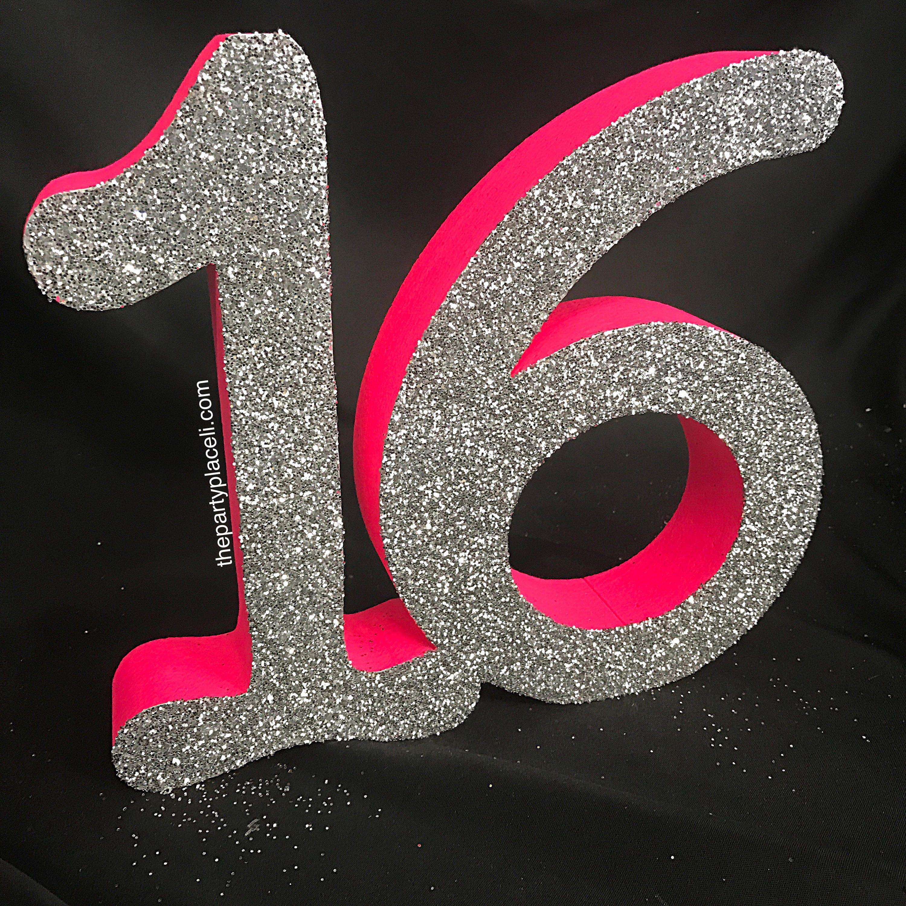 Large free standing Glitter Number 16 for Sweet 16