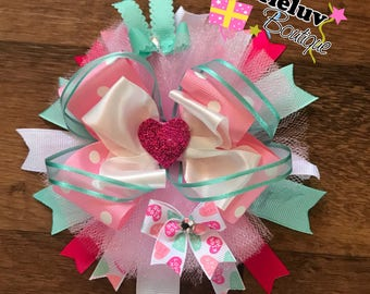 Message Hearts in Pink and Turquoise Stacjes Hair Bow, Valentines Bow