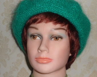 Aqua blue color fuzzy mohair beret-Elegant women's beret-Warm & soft mohair beret-Hand knit green mohair beret-Made to order beret