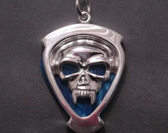 Skull guitar pick holder pendant - sterling silver