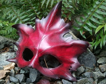 Red Leather Maple Leaf Mask