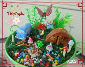 Miniature Hippy Holiday Gnome Garden Kit  Fairy Garden Set Includes Plants
