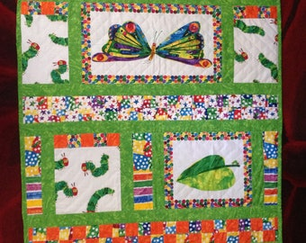 Handmade cot/quilt/bed topper the very hungry caterpillar new