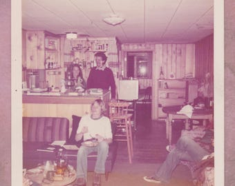 Vintage Photo, 1970s Basement Party, Wood Paneling, Vernacular, Apartment, Friends, Mustache, Kodak, Laughing, Candid, Queens, New York