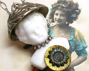 Sunflower FAIRY necklace, Victorian DOLL & button assemblage necklace on sterling silver.