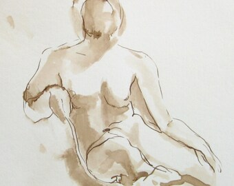 Female Nude Figure Drawing -Thea Seated - Walnut Ink on Paper - Dessin de Nu - Gesture Drawing