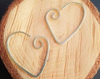 Minimalist Heart Hoops, Sterling Silver Heart Earrings, Gold Heart Earrings, Rose Gold Hoops, Hammered Metal Earrings, Hypoallergenic