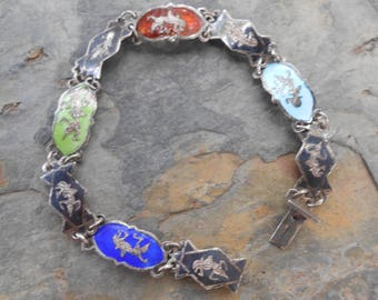 Siam Sterling Nielloware and Enamel Link Bracelet