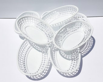 White Food Baskets, Set of 12, Food Trays, white Plastic Food Basket Tray, Shower, Party, BBQ