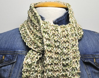 Knit Cotton Scarf in Moss